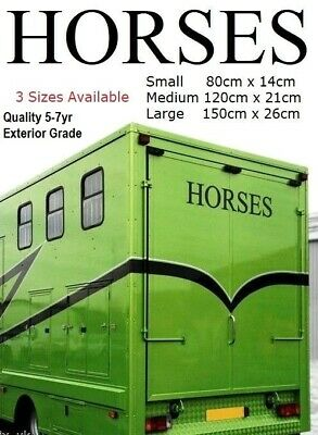 2 x HORSES Horsebox Vinyl Graphics Sticker Decals.  Choose 3 Sizes/Colours/Fonts