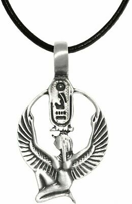 Jewelry Trends Pewter Egyptian Isis Wings Cartouche Pendant on Leather Necklace