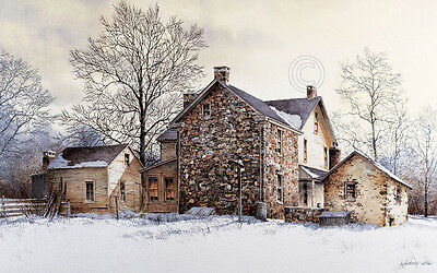 Ray Hendershot Millside Country Winter Tree Landscape Nature Print Poster 28x16