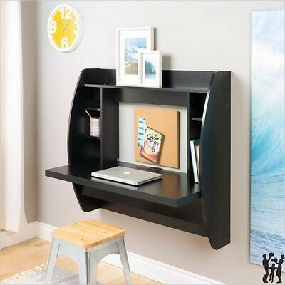Prepac Floating Wall Black Computer Desk w/ Storage Computer