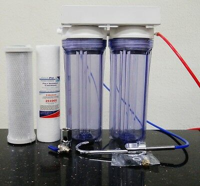 Premier Under Counter Dual Water Filter Drinking Water System Carbon Sediment