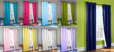 Hotel High Quality 2 Panel Solid Lined Thermal Blackout Grommet Window Curtain