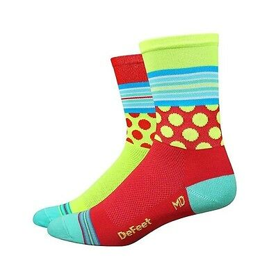 "Defeet Aireator 5""  Socks Mashup Red/Yellow- L"