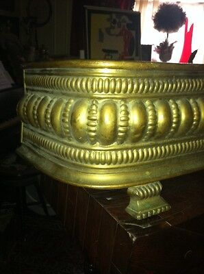 Vtg 1800's Ornate 4ft Fireplace Fender Surround Footed Egg Dart Brass