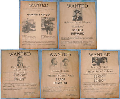 Set of 5 Gangster Wanted Posters Capone, Dillinger, Bonnie, Clyde, more