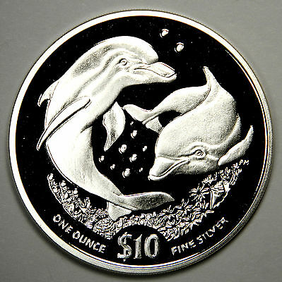 2006 British Virgin Islands Rare Silver $10 Dolphin, Porpoise - Priced Right!