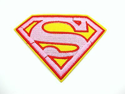 Pink Superman Embroidered Patch Iron On Applique Sewing 9 x 6.5cm