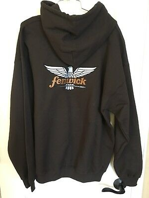 New Fenwick Rod Hoodie Brown Hooded Sweatshirt Size Medium ONLY