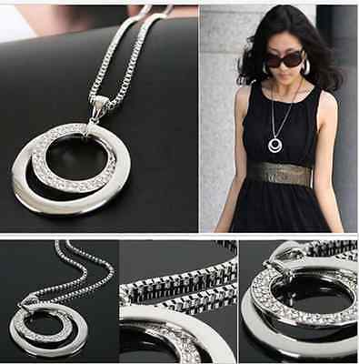 Fashion  Silver Plated Pendant Long Chain Women Crystal Rhinestone Necklace
