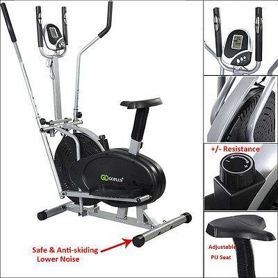 2in1 Elliptical Aerobic Exercise Bike Cross Trainer Fitness Cardio Workout Gym