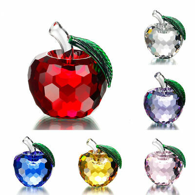 Vintage 40mm 3D Apples Figurines Shape Faceted Glass Crystal Paperweight Wedding