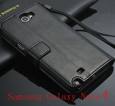 For Samsung Galaxy Note 4 Genuine Leather Flip Wallet Case Cover Pouch