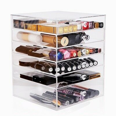Large Acrylic Clear Cosmetic Makeup Organiser Case Storage Holder  - 6 Drawers