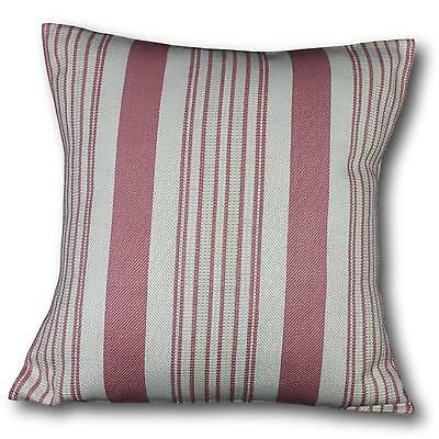 "Cushion cover in Rose Pink Stripe fabric 17"" / 43cm square. 100% cotton"