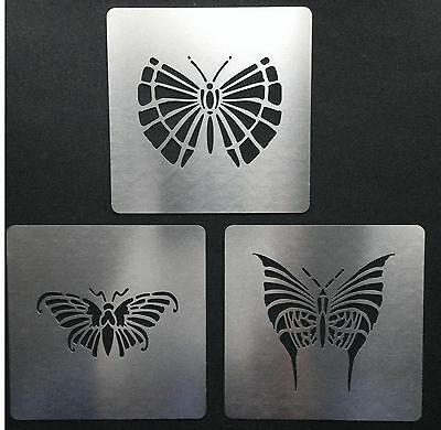 Art Deco Butterflies Stainless Steel Metal Stencil Templates ( Set of 3) 5cm