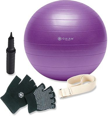 Kit Yoga Ball Gaiam Dvd Inglés + Gymball Lila + Guantes + Correas