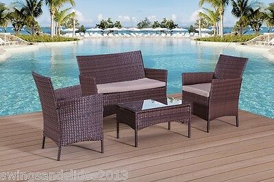 Rattan Garden Furniture Set Sofa Table Chairs - Garden Patio Conservatory