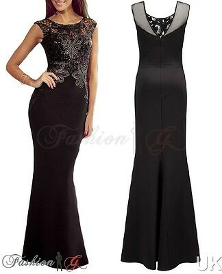 Womens Evening Dress Black Ball Gown Prom Party Formal Long Maxi New Size 12 14