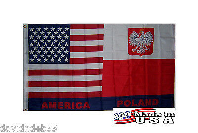 3x5 POLSKA POLISH AMERICAN POLAND US In/outdoor Super-Poly FLAG BANNER*USA MADE