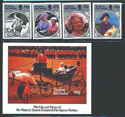 TRISTAN DA CUNHA Sc372-76 SG390-93,MS394 MNH 1985 Queen Mother set of 4+MS SCV$5