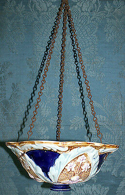 Suspension Ancienne Barbotine Decor Fleurs Majolica