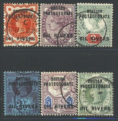 OIL RIVERS Sc1-6 SG1-6 Used 1892 QVIC set of 6 SCV$144
