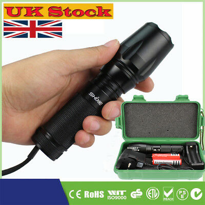 XML T6 8000LMTactical Zoomable  LED Military Flashlight Torch Light Lamp UK002G