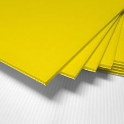 """5 Pack Yellow Corrugated Blank Sign Sheet 4Mm X 12"""" X12""""-Vertical"""