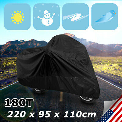 L 180T Black Motorcycle Bike Scooter Waterproof UV Dust Protector Cover