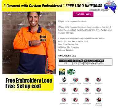 3  x HI VIS  Work shirts with Your Embroidered * FREE  LOGO  WORKWEAR  HI-VIS**