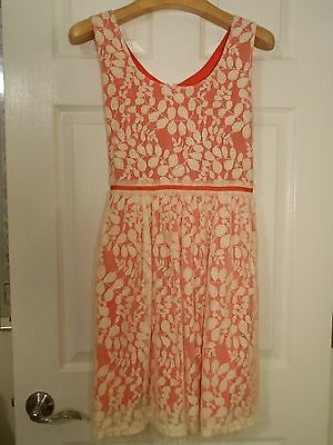 Forever 21 Love 21 Coral/Pink ivory lace overlay a-line dress size M EUC cute!