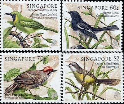 Song Birds On Stamps From Singapore # 834-837 MNH