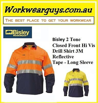 BISLEY WORKWEAR - 2 Tone Closed Front Hi Vis Drill Shirt 3M Reflect Tape - L/S