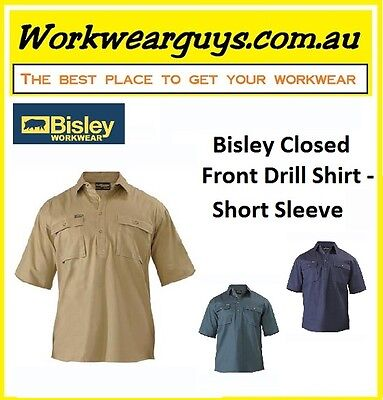 BISLEY WORKWEAR - Closed Front Drill Work Shirt - Short Sleeve BSC1433