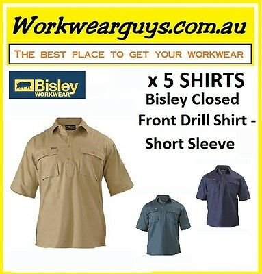 5 x SHIRTS BISLEY WORKWEAR - Closed Front Drill Work Shirt -Short Sleeve BSC1433