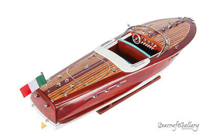 HANDCRAFTED WOODEN MODEL SPEED BOAT SHIP RIVA ARISTON GREAT GIFT - DECOR 50cm