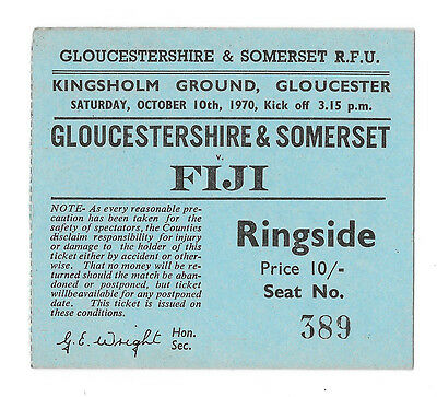 1970 - Western Counties v Fiji, Touring Match Ticket.
