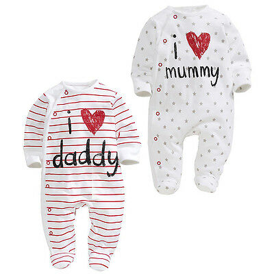 UK Seller baby clothes love Dad and mummy  boys girls rompers Playsuit Sleepsuit