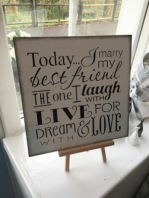 Wooden Love Wedding Sign Today I Marry Shabby Chic Vintage decoration reception