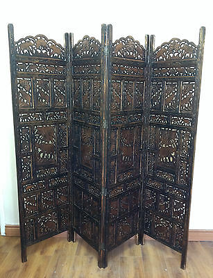 Elephant Design Hand Carved Indian 4 Panel Screen / Room Divider / Mango Wood P5