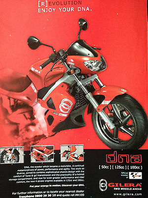 "GILERA DNA # ORIGINAL MOTORCYCLE ADVERT # 12"" x 9"""