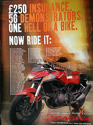 "CAGIVA RAPTOR V # ORIGINAL MOTORCYCLE ADVERT # 12"" x 9"""