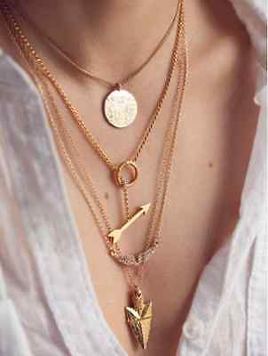 Women Chain Bib Choker Pendant Charm Statement Necklace Jewelry Fashion