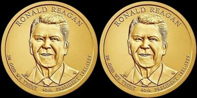 "2016 P & D Ronald Reagan Presidential Dollars ""BU"" US Mint (2 Coins)"