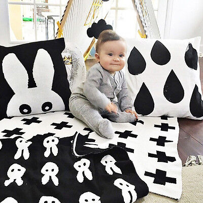 Cute Baby Blanket Black White Bedding Blanket Children Rabbit Cross Blanket