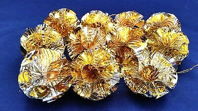 11 Vintage Mid Century Gold Metallic Atomic Plastic Foil PomPom Ball Ornaments
