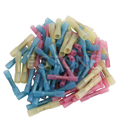 100PCS 22-10 AWG Assorted Heat Shrink Crimp Butt Wire Splice Connector 3 Colors
