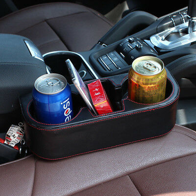 Universal Car Seat Seam Dual-Cup Drink Bottle Leather Storage Holder Mount Stand