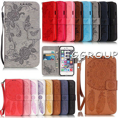 Embossed Butterfly Pattern Flip Card Wallet Leather Case Cover For Mobile Phones