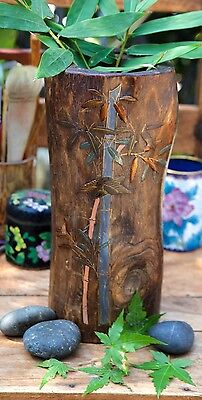 Asian Hand Carved Wood Brush Pot Vase with Bamboo Painting